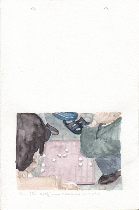 Chinese chess game in Vinh, pencil and watercolours on paper, 22,8 x 15 cm, 2017