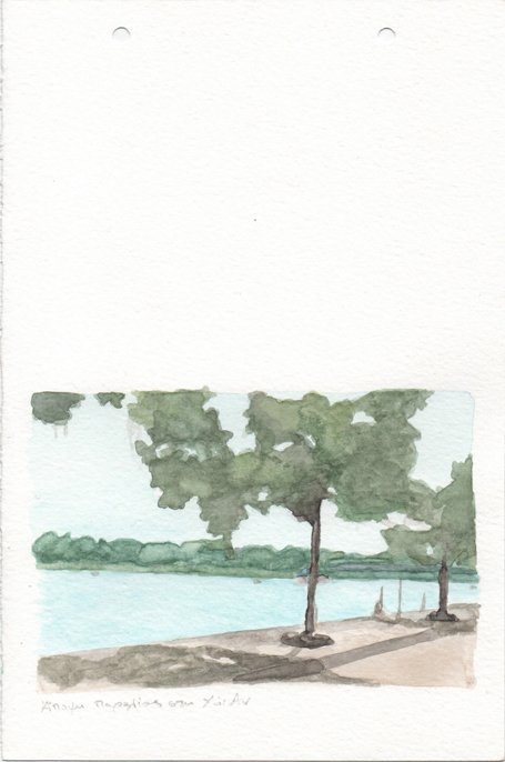 Beach view in Hoi An, pencil and watercolours on paper, 22,8 x 15 cm, 2017