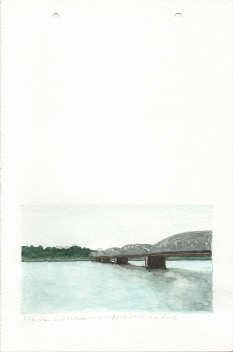 One of the four Bridges of the Perfume River in Hue, pencil and watercolours on paper, 22,8 x 15 cm, 2017
