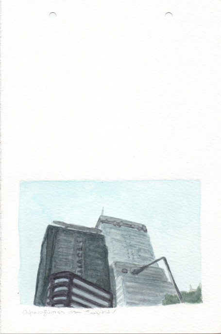 Skyscrapers in Saigon, pencil and watercolours on paper, 22,8 x 15 cm, 2017