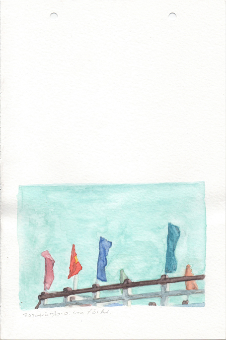 Riverboat in Hoi An, pencil and watercolours on paper, 22,8 x 15 cm, 2017
